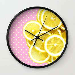 Candy Pink and Lemon Polka Dots Wall Clock