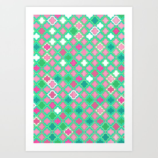 Girly Moroccan Lattice Pattern in Pink, Mint, Emerald Green & White Art Print