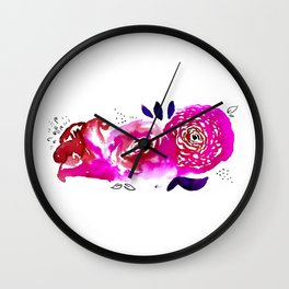 Three Purple Christchurch Roses Wall Clock