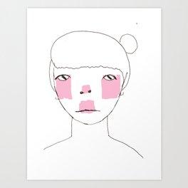 Line Drawing of Girl with Bun  Art Print