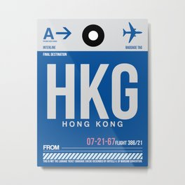 HKG Hog Kong Luggage Tag 1 Metal Print