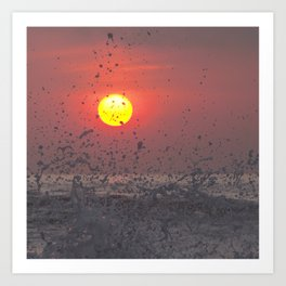 Red sunset at the beach Art Print