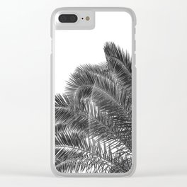 Summer Palm Leaf Print {3 of 3} | B&W Black and White Sun Sky Beach Vibes Tropical Plant Nature Art Clear iPhone Case