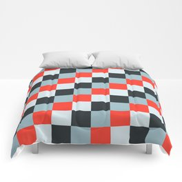 Stainless steel knife - Pixel patten in light gray , light blue and red Comforters