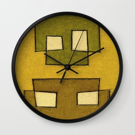 Protoglifo 02 'ochre closer to green' Wall Clock
