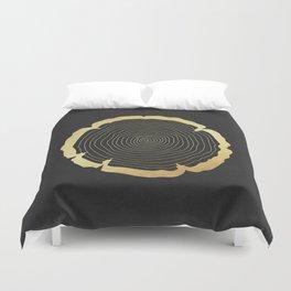 Metallic Gold Tree Ring on Black Duvet Cover