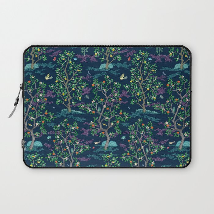 Citrus Grove Mural Navy Laptop Sleeve