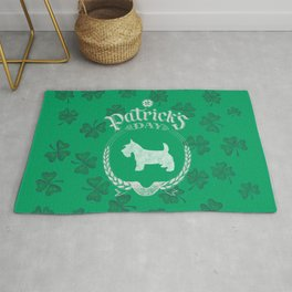 St. Patrick's Day Scottish Terrier Funny Gifts for Dog Lovers Rug