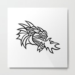 Mythical Dragon Breathing Fire Mascot Metal Print