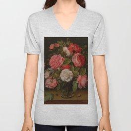 """Jacob van Hulsdonck """"Roses in a Glass Vase"""" Unisex V-Neck"""