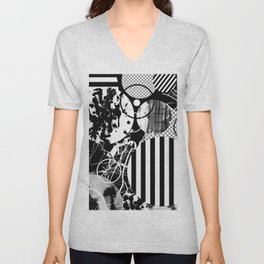Black And White Choas - Mutli Patterned Multi Textured Abstract Unisex V-Neck