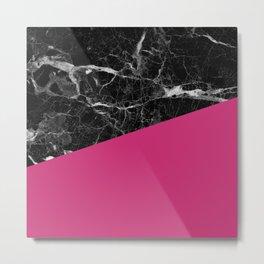 Black Marble and Pink Yarrow Color Metal Print