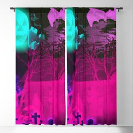 Glowing Pumpkin and Haunted Halloween Barn Blackout Curtain