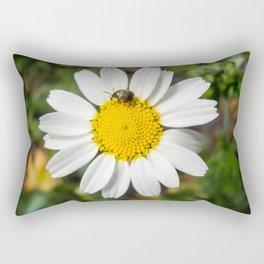 Magic Field Summer Grass - Chamomile Flower with Bug - Macro Rectangular Pillow