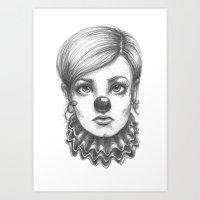 clown Art Prints featuring Clown by Robin Ewers