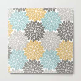 Floral Petals in Blue, Grey and Yellow Metal Print