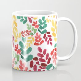 Leafy colorful young energetic floral pattern design Coffee Mug