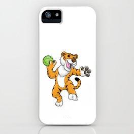 Tiger as handball player with handball iPhone Case