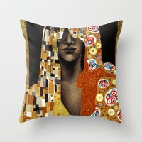 klimt Throw Pillows featuring Klimt Me by Estúdio Marte