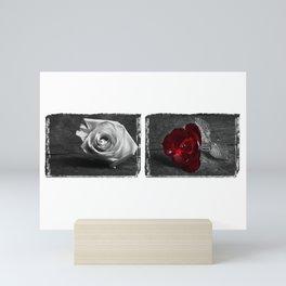 Rose Diptych | Black & White | Selective Color Mini Art Print