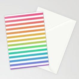 Thin Horizontal Rainbow and White Stripes Stationery Cards