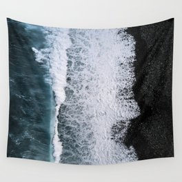 Aerial of a Black Sand Beach with Waves - Oceanscape Wall Tapestry