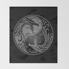 Gray and Black Yin Yang Dragons Throw Blanket