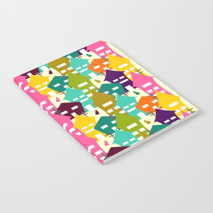 Colorful houses and cats Notebook