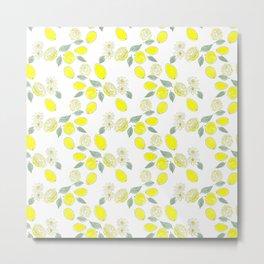 Watercolor . Lemon . Metal Print
