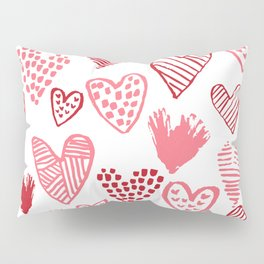 Hearts red and white hand drawn minimal modern fun valentines day gifts Pillow Sham