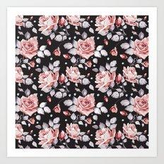 Vintage Pink Rose Flowers Art Print