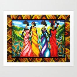 Four Ladies of Belize Art Print