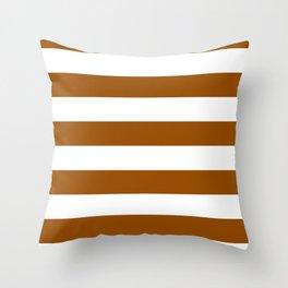 Horizontal Stripes - White and Brown Throw Pillow