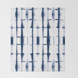 Shibori Stripes 4 Indigo Blue Throw Blanket