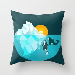 Arctic polar bear whale and nature conservation illustration Throw Pillow