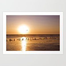 Sunset over Zuma Beach, 2011 Art Print