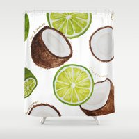 coconut wishes Shower Curtains featuring Lime & Coconut  by Nora Buschman
