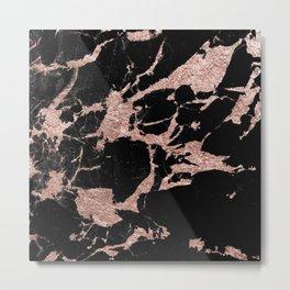 Black Marble Rose Gold Glam #1 #decor #art #society6 Metal Print