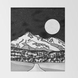 Mount Shasta Black and White Throw Blanket