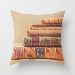 Vintage Book Stack (Color) Throw Pillow