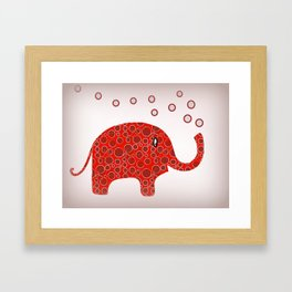 Red Circles Elephant Framed Art Print