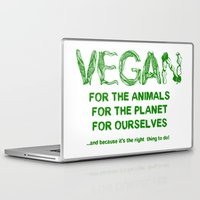 vegan Laptop & iPad Skins featuring Why Vegan? by VegArt