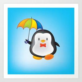 umbrella penguin Art Print