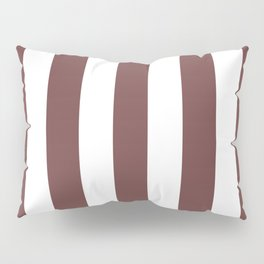 Roast coffee purple - solid color - white vertical lines pattern Pillow Sham
