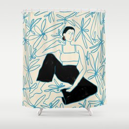 WOMAN IN A FIELD OF FLOWERS Shower Curtain