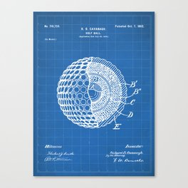 Golf Ball Patent - Golfer Art - Blueprint Canvas Print