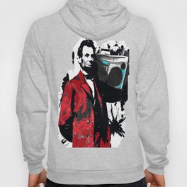 ABRAHAM LINCOLN INK SPLASH RED MAKE MUSIC NOT WAR Hoody