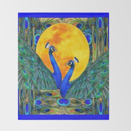 FULL GOLDEN MOON & 2  BLUE PEACOCKS PATTERN ART Throw Blanket