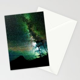 Green Teal Milky Way Landscape Stationery Cards