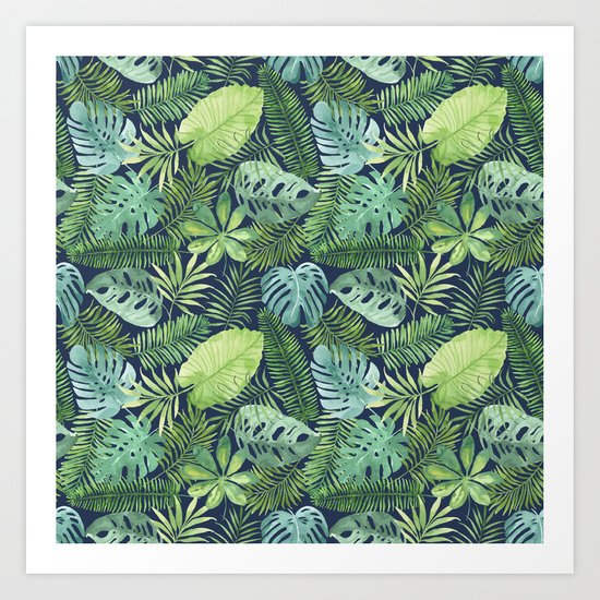 Tropical Branches on Dark Pattern 08 Art Print